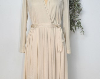Vintage 60s LILLI RUBIN Ivory Beige Vee Wrap Dress S M