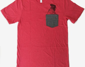 Mens Pocket Tee ROOSTER T Shirt S  L XL XXL