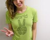 Peace tshirt, World Peace, peace sign, inspirational clothing, cool t-shirt, hipster, boho chic, Alternative Apparel, graphic tee