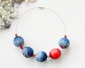 Polymer clay jewelry/Blue necklace/Chunky necklace/Statement necklace/Big beads necklace/Bold necklace/Contemporary jewelry/Red coral choker