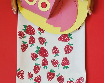 Strawberry tea towel - screen printed by hand in Nashville