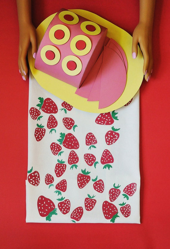 Strawberry tea towel screen printed by hand by pinestreetmakery