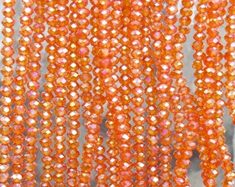 3x2mm Faceted Transparent Orange AB Chinese Crystal Rondelle Beads 7 & 1/2 Inch Strand (3CCS15)