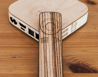 Real Wood Apple TV Cover in Wenge, Teak, Walnut, Zebrawood, Bamboo, Birch, Red Oak and Mahogany - Remote & Base Unit
