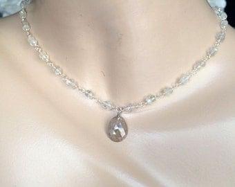 Wire Wrap Ceylon Moonstone Necklace Bridal Jewelry Choker Beach Wedding Beige Sapphire Slice Pendant Sterling Silver Handmade Necklace Set