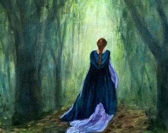 "Painting of a female figure.   Romantic painting of woman walking in forest, Original, 10"" x 8"", acrylic"