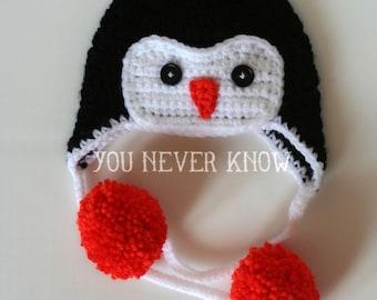 Crochet Penguin Earflap Hat: 0-3 months