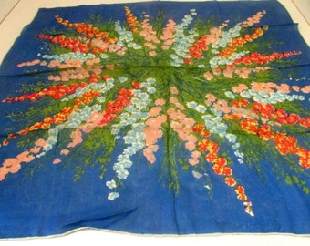 Vintage Scarf 1950s Blue Green Pink Floral Rayon Silk Scarf Scarves Hand Rolled Edges