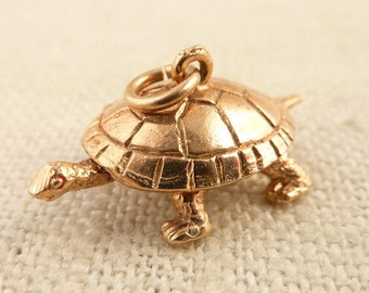Vintage English 9K Gold Moveable Tortoise Charm