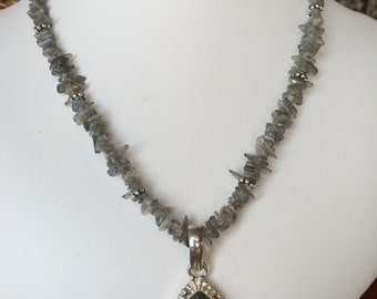 Necklace — Labrodorite in Silver Pendant, Labrodorite Chips and Pewter Accents