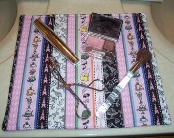 Pink Makeup Mat, Parisian Life, Travel Mat, Small Pet Feeding Mat, Cat Mat
