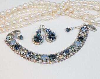 Blue Shades Crystal Bracelet Bridal Silver Navy 8mm Swarovski Crystal Set Something Blue Navy Wedding Tennis Bracelet Silver finish,SB52