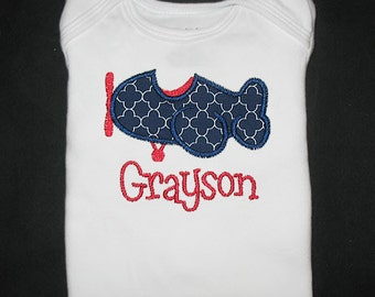 Custom Personalized Applique AIRPLANE and NAME Bodysuit or Shirt - Riley Blake Mini Quatrefoil - Navy Blue and Red - Or Choose Colors
