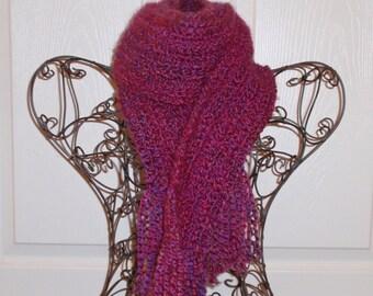 SUMMER SALE - Crochet Scarf - Super SOFT Women's Fuchsia Pink Fashion Scarf, Woman's Pink Apparel Accessory - Homespun Yarn in Ambrosia
