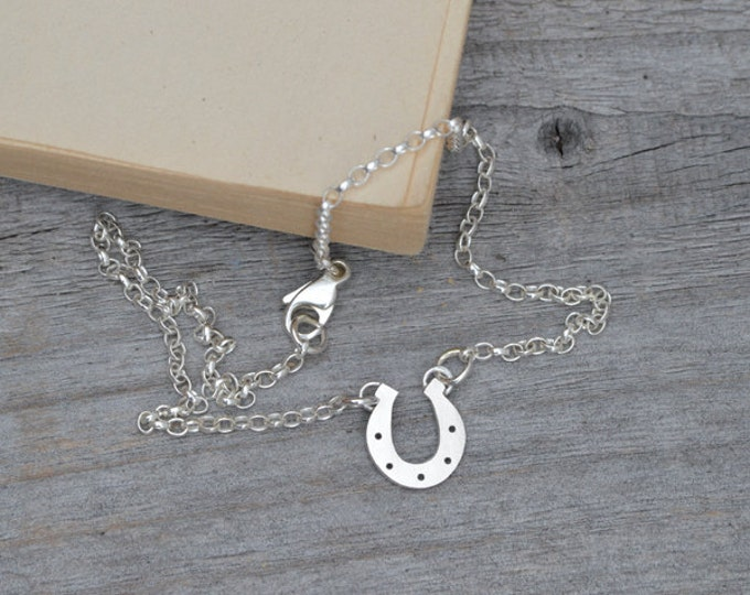 Horseshoe Bracelet Anklet With Personalized Message In Solid Sterling Silver, Lucky Horseshe Bracelet Anklet For Her, Handmade In England