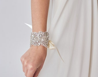 Rhinestone Bridal Cuff   Ivory Wedding Bracelet   Crystal Bridal Cuff Bracelet [Asteria Cuff]