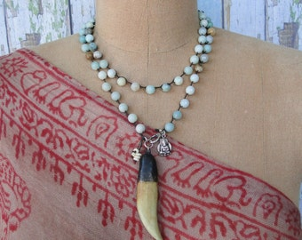 AMAZONITE with TUSK Necklace, yoga, boho, tribal