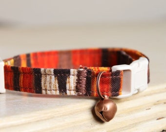 Pancho & Lefty Safety Cat Collar with Antique Copper Bell or Charm