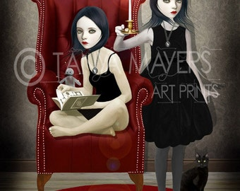 Gothic Art Print - Sisters & Secrets - Witchcraft  Twins
