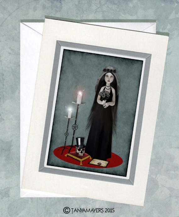Gothic Romance Greeting Card & Envelope - Bride And Skull - Till Death Do Us Part
