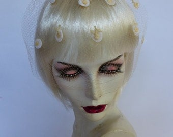 Vintage Ivory White Veil with Cherry Dots 50s 60s Bridal/Bridesmaid