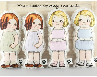 Fabric Paper Dolls Inspired by 1920's Paper Dolls -  your choice of any TWO dolls - Retro Doll - Organic Cotton Doll