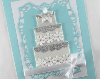 Wedding card, wedding day, wedding cake, congratulations, elegant wedding day card