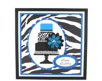 Birthday card, birthday cake, zebra print, 21st birthday, 16th birthday, animal print, girls, women