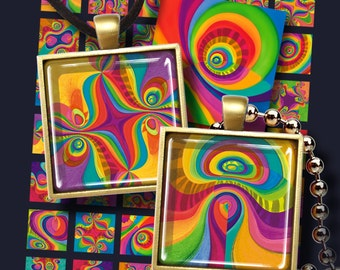 1x1 inch size images MAGIC RAINBOW TILES Printable Digital Download or glass or resin pendants / magnets/ bezel settings/ decoupage ArtCult