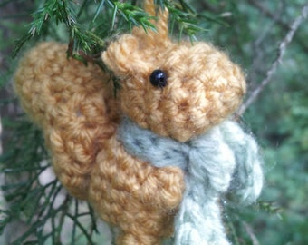 Wee Christmas Squirrel - crochet animal ornament crochet critter ornament decoration amigurumi ornament amigurumi crochet Christmas ornament