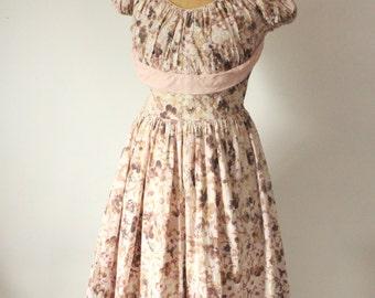 vintage 1950s Dress  // Pale Rose Floral Dress