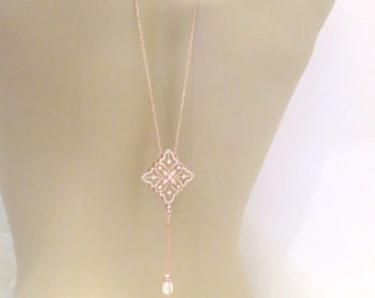 Backdrop necklace, Rose Gold necklace, Bridal necklace, Wedding jewelry, Rose Gold back necklace, Crystal necklace, Statement necklace