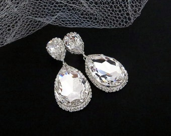 Dramatic bridal earrings, Teardrop wedding earrings, Swarovski crystal earrings, Statement earrings, Wedding jewelry, Bridesmaid jewelry