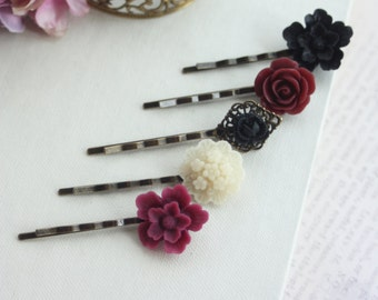 Black Rose Flower Hair Pins Maroon Burgundy Black Goth Rose Pins Black Goth Hair Comb Fall Halloween Gothic Wedding Hair Pins Goth Halloween