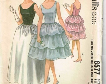 Sleeveless Party Cocktail Dress Scalloped Flounce Gathered Skirt McCalls 6577 Vintage 1960s Sewing Pattern Junior Teen Size 11 Bust 31 1/2