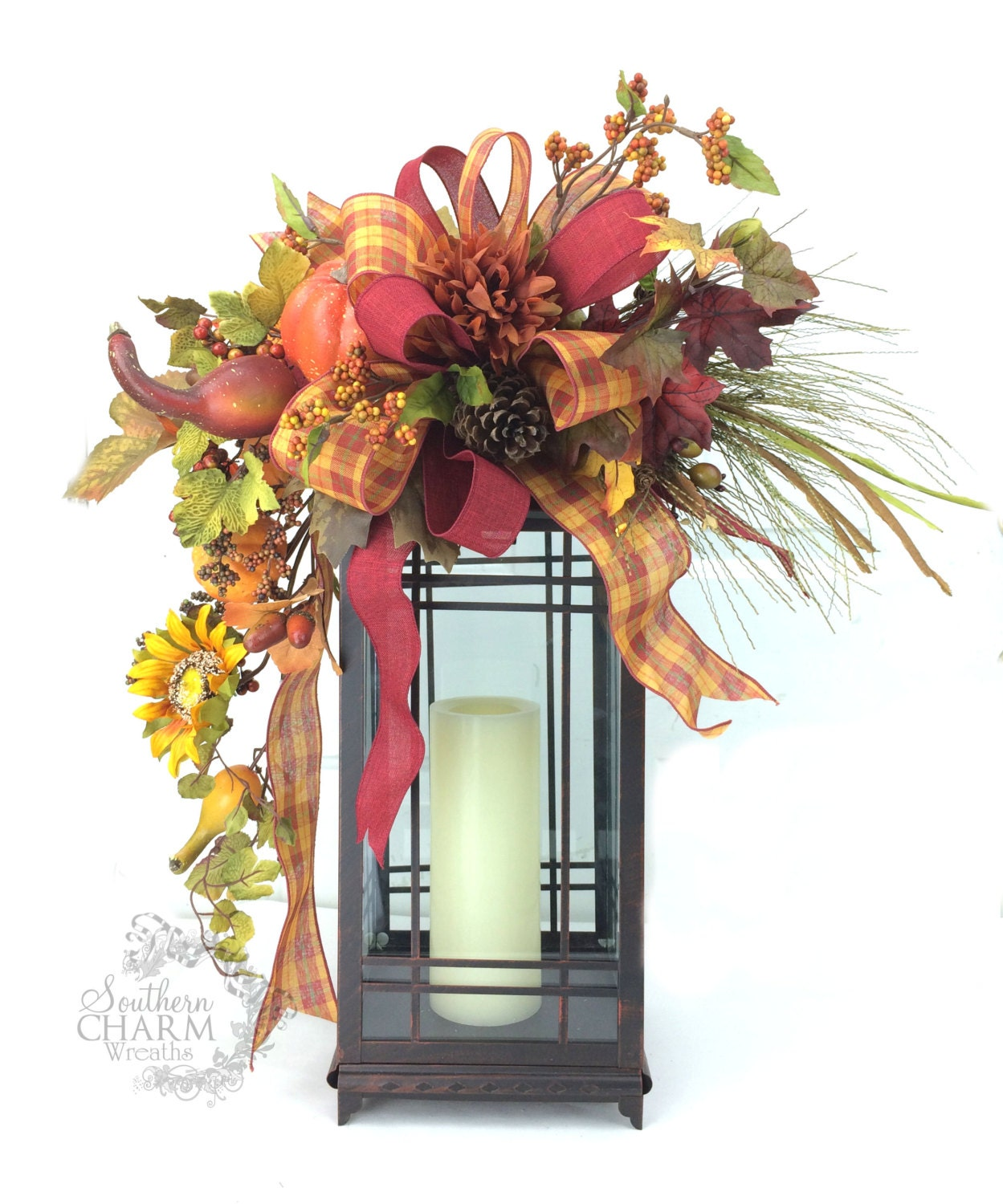Decorating Ideas > Fall Lantern Swag W Sunflower Pumpkins Pine Cone Leaves ~ 072643_Thanksgiving Lantern Decorations