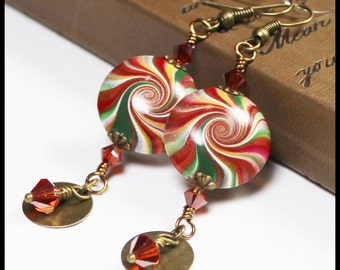 Morocco... Handmade Beaded Jewelry Earrings Crystal Polymer Clay Antique Brass Magenta Burgundy Green Gold Swirl Spiral Lightweight