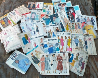Sewing Pattern destash, vintage 1960s, 1970s, 1980s, box full, Simplicity, McCalls, Butterick, Vogue, Past Patterns, gp7