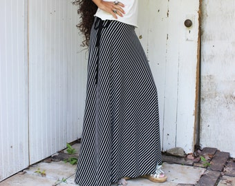 Bamboo Full Length Striped Wrap Skirt - Eco Fashion Custom Made to Order