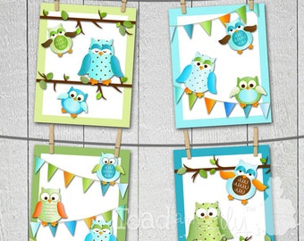 Set of 4 Fun Boy Owl Girls Bedroom 8x10 Art Prints