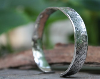 Sterling Silver Bangle, Woven Bangle, Rustic Rustic Bangle, Textured Bangle