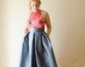 Gunmetal Blue Maxi Full Skirt, High Waist Silk Taffeta Long Evening Skirt with Pleats and Pockets, Prom Skirt, Customize color and length