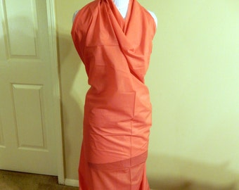 Coral faux silk broadcloth