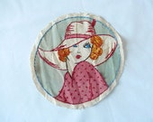 vintage framable embroidery, c. 1960's pattern, hand-embroidered, woman with hat, arts and crafts, home decor