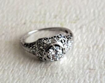 Vintage Diamond 18K White Gold Filigree Ladies Ring by avintageobsession on etsy...FREE USA SHIPPING