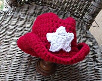 Red Baby Cowboy Hat, Crochet Cowboy Hat, Baby Cowgirl Hat, Red Baby Hat, Western Baby Boy Hat, Crochet Baby Hat, Baby Western Photo Prop