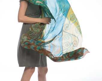 Hand painted silk scarf- Mustard Ghost/ Klimt inspired shawl painted by hand/ Aqua mustard and green scarf/ Luxury scarves, Gift for her
