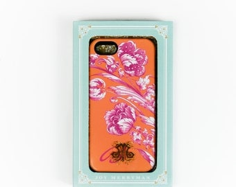 Personalized Gift iPhone 6S Case, Flowers in Fuchsia and Tangerine Orange, iPhone 5S, iPhone 5C Case Womens Monogram iPhone 6 Plus