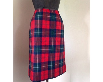 Vintage Red Plaid Pendleton Skirt
