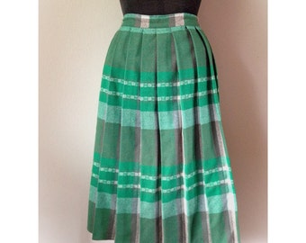 Vintage Wool Pleated Green Skirt